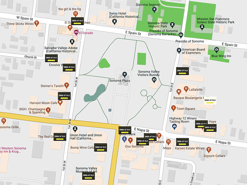 Sonoma Art Walk Map - Sonoma Plaza